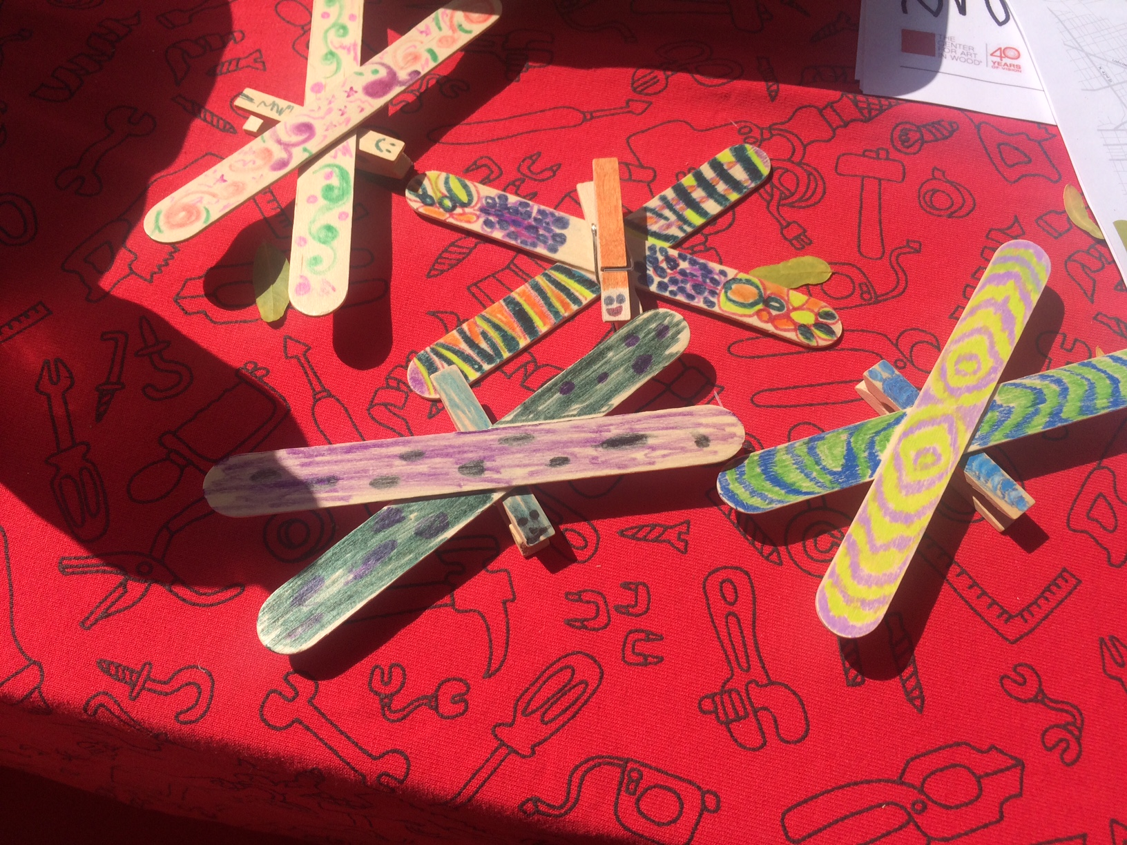 Dragonflies made by kids at the Center for Art in Wood Park(ing) Day pop-up
