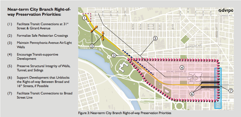 DVRPC's Study lists a series of recommendations, including widening the City Branch tunnel between 16th and Broad