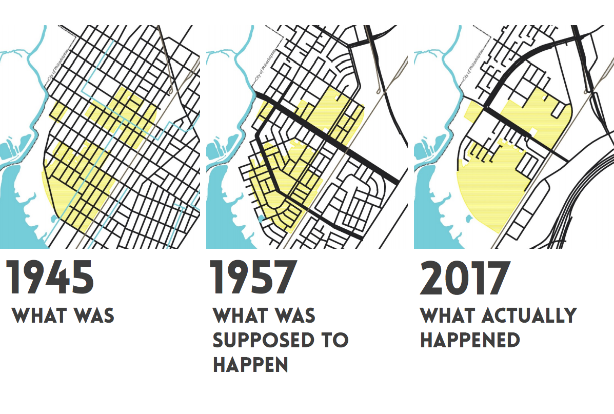 Eastwick: (L to R) Before urban renewal, the urban renewal plan, and present | courtesy of Interface Studio