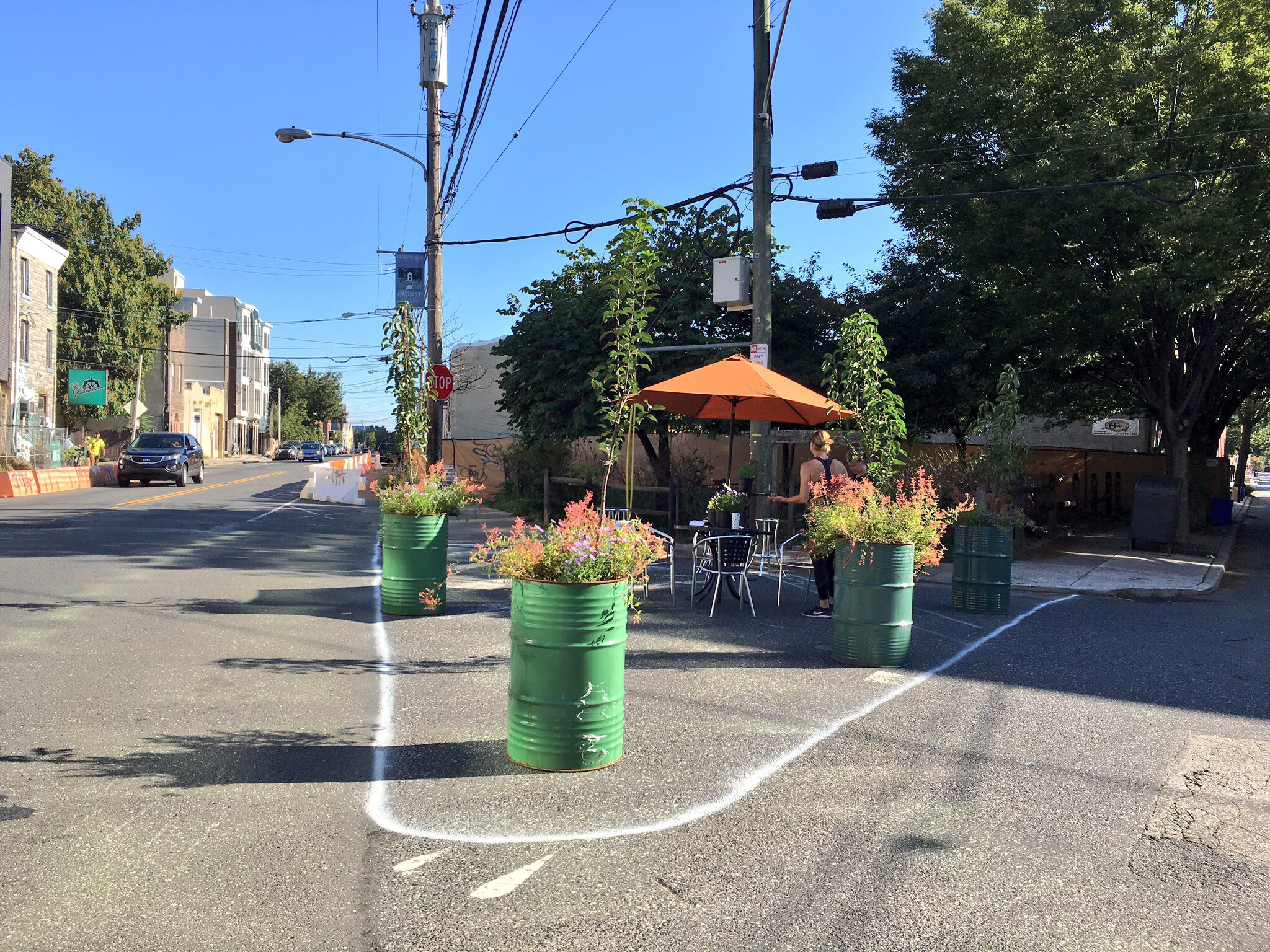 Fishtown Neighbors, Greensgrow, and Johnny Brenda's joined forces at Belgrade and Frankford Ave. to create a pop-up plaza.