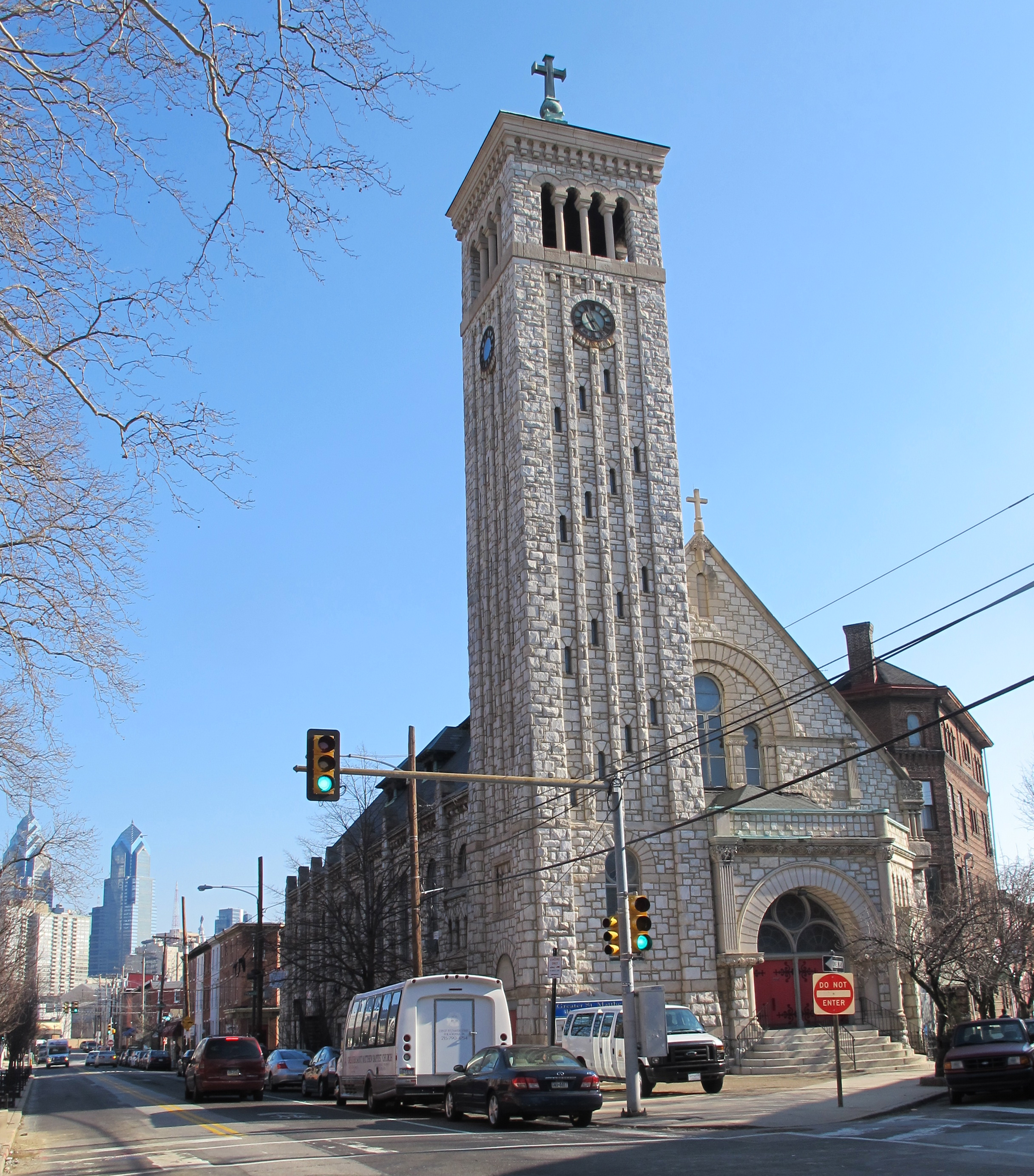Greater St. Matthew Baptist Church, at Grays Ferry and Fitzwater, was converted into the Sanctuary Lofts apartments.