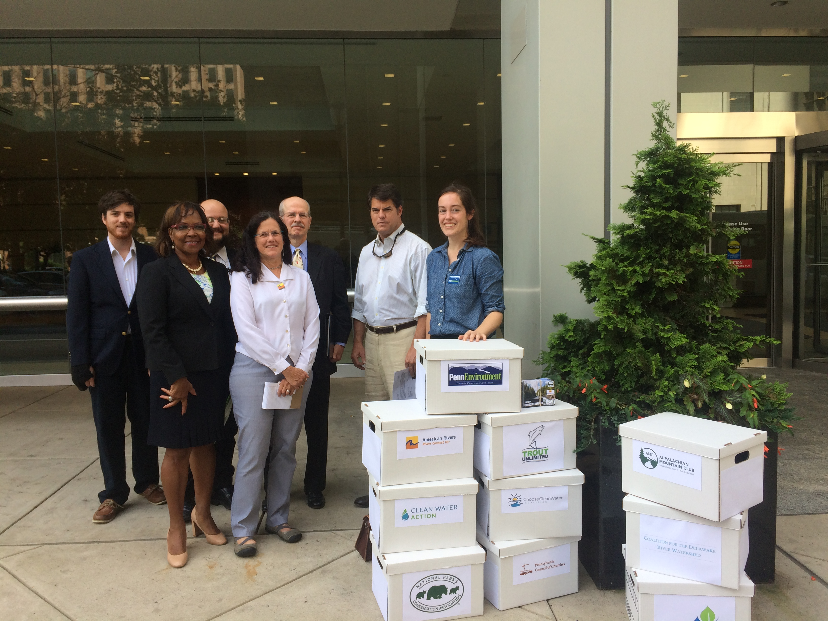 Environmental organizations symbolically delivered 20,000 public comments to EPA in support of the clean water rule.