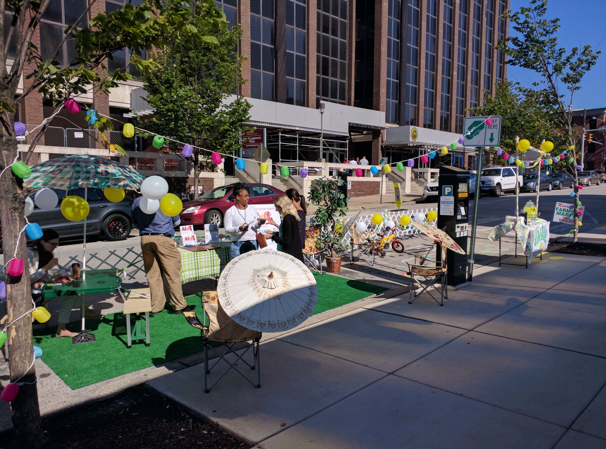 In Norristown, the Montgomery County Planning Commission joins in the Park(ing) Day 2017 fun