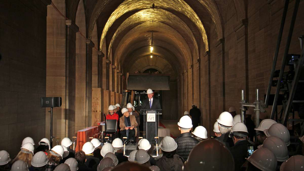 Jim Kenney speaks at Philadelphia Museum of Art groundbreaking, March 30, 2017 | Emma Lee / WHYY
