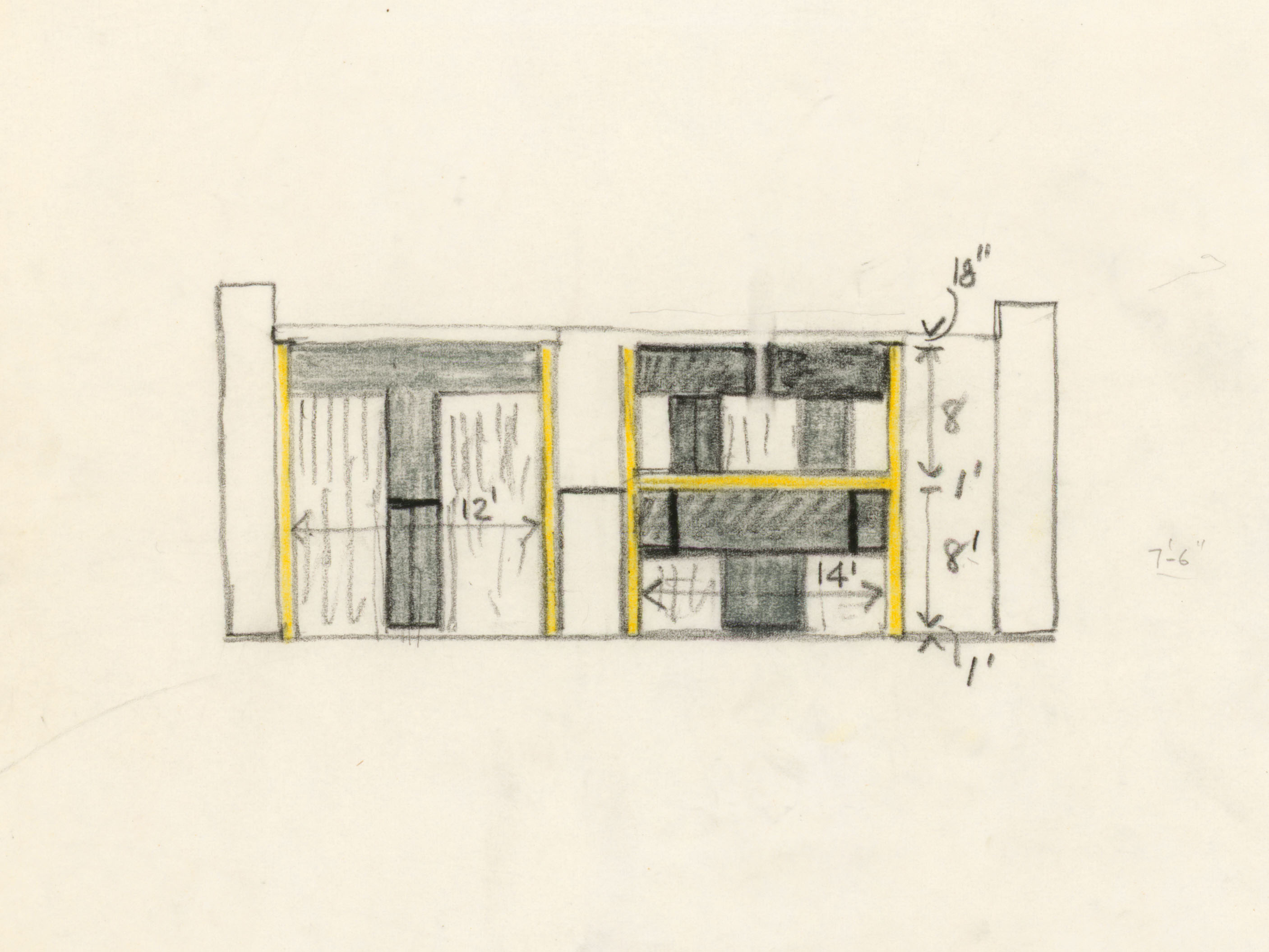Kahn's Sketch of the Esherick House in Chestnut Hill. Courtesy of Louis I. Kahn Collection, University of Pennsylvania and the Pennsylvania Historical and Museum Commission.​