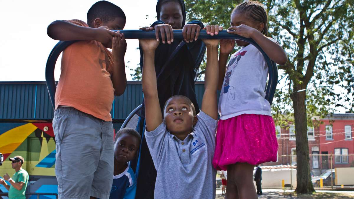 Kids playing at Wister Playground | Kimberly Paynter / WHYY