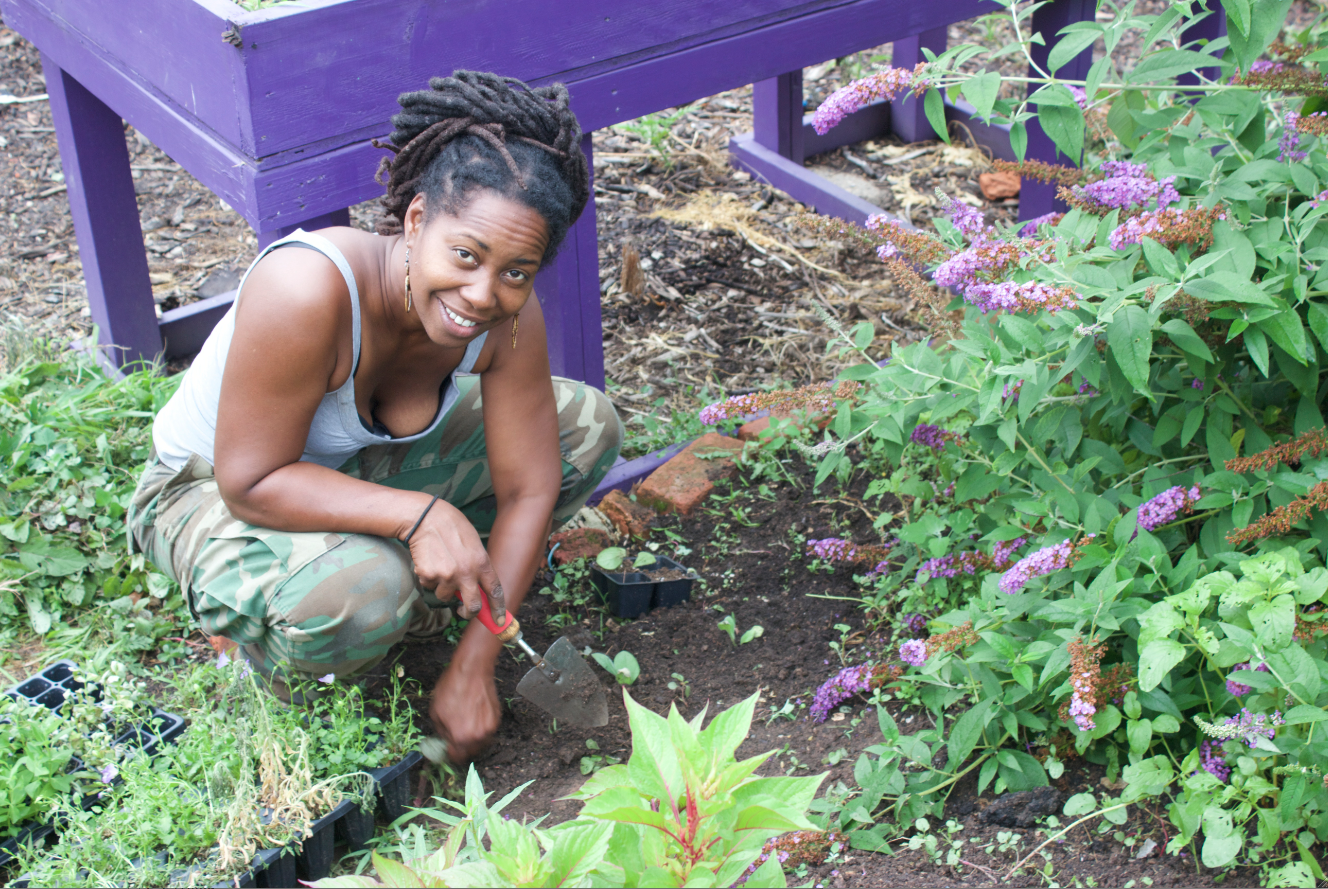 Kirtrina Baxter at work at her community farm in North Philadelphia.