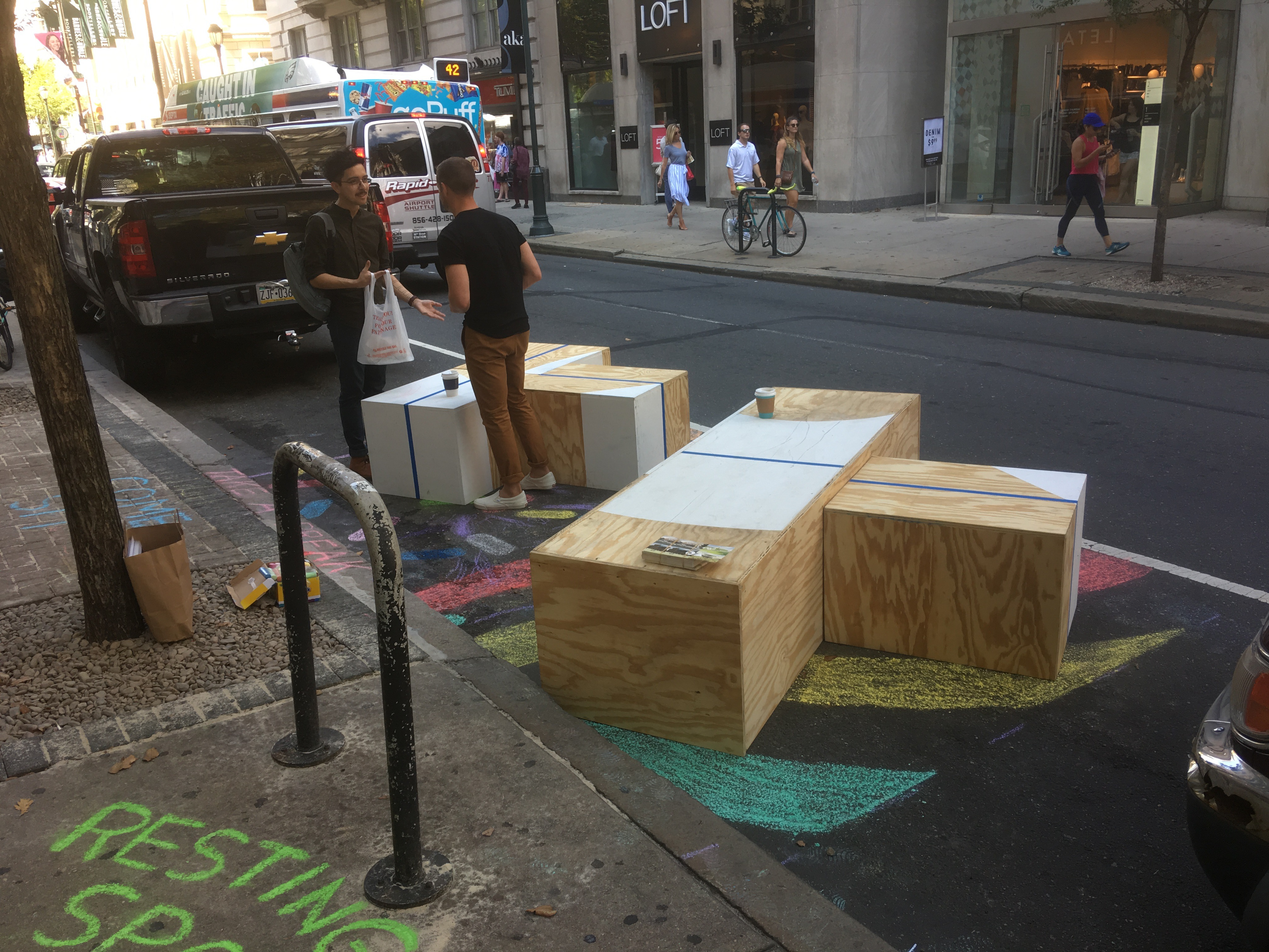 Lammey and Giorgio has recycled materials from their previous Park(ing) Day pop-ups the last few years in a row now