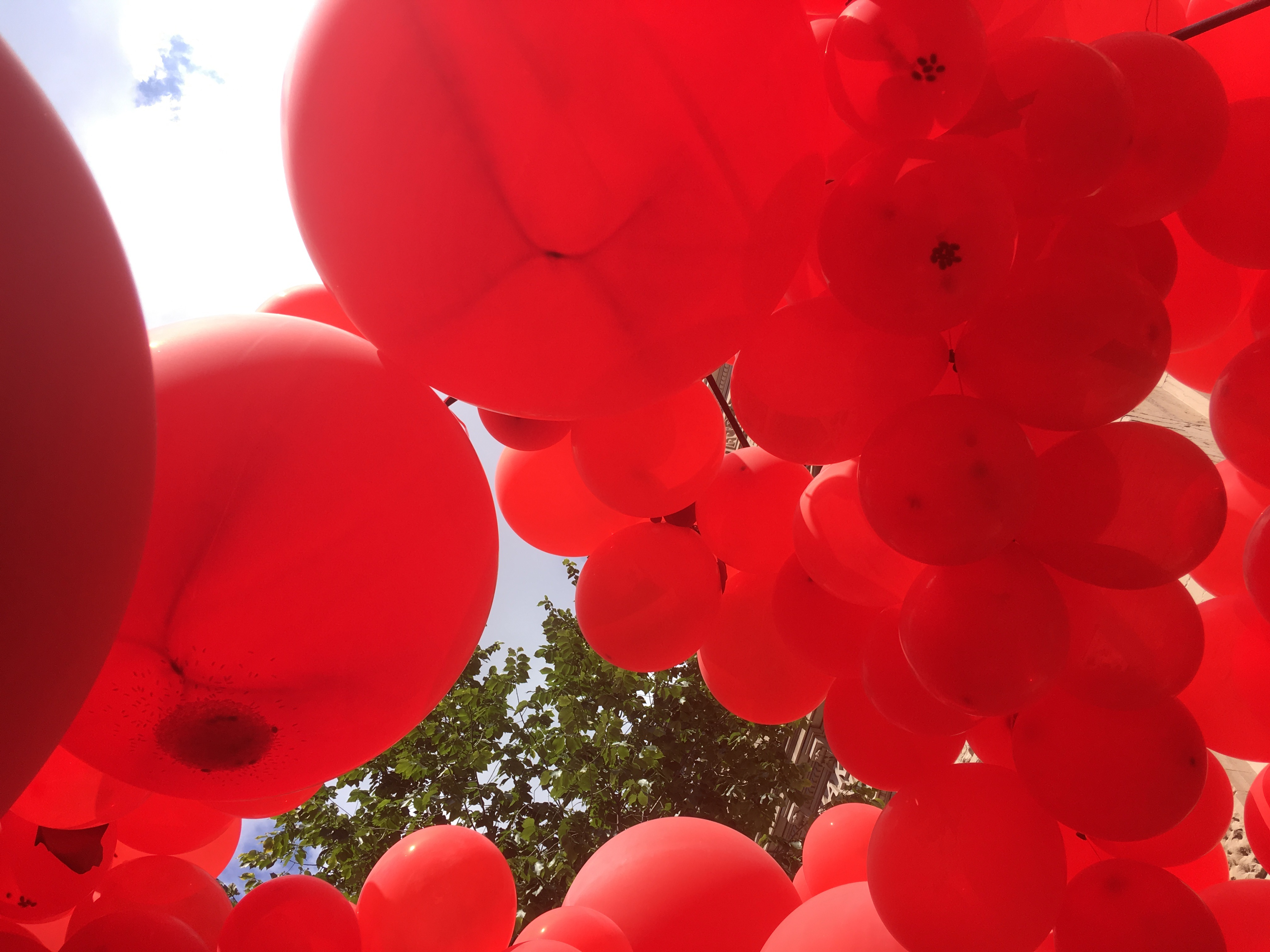 Looking up through at least 99 red balloons arranged by OLIN