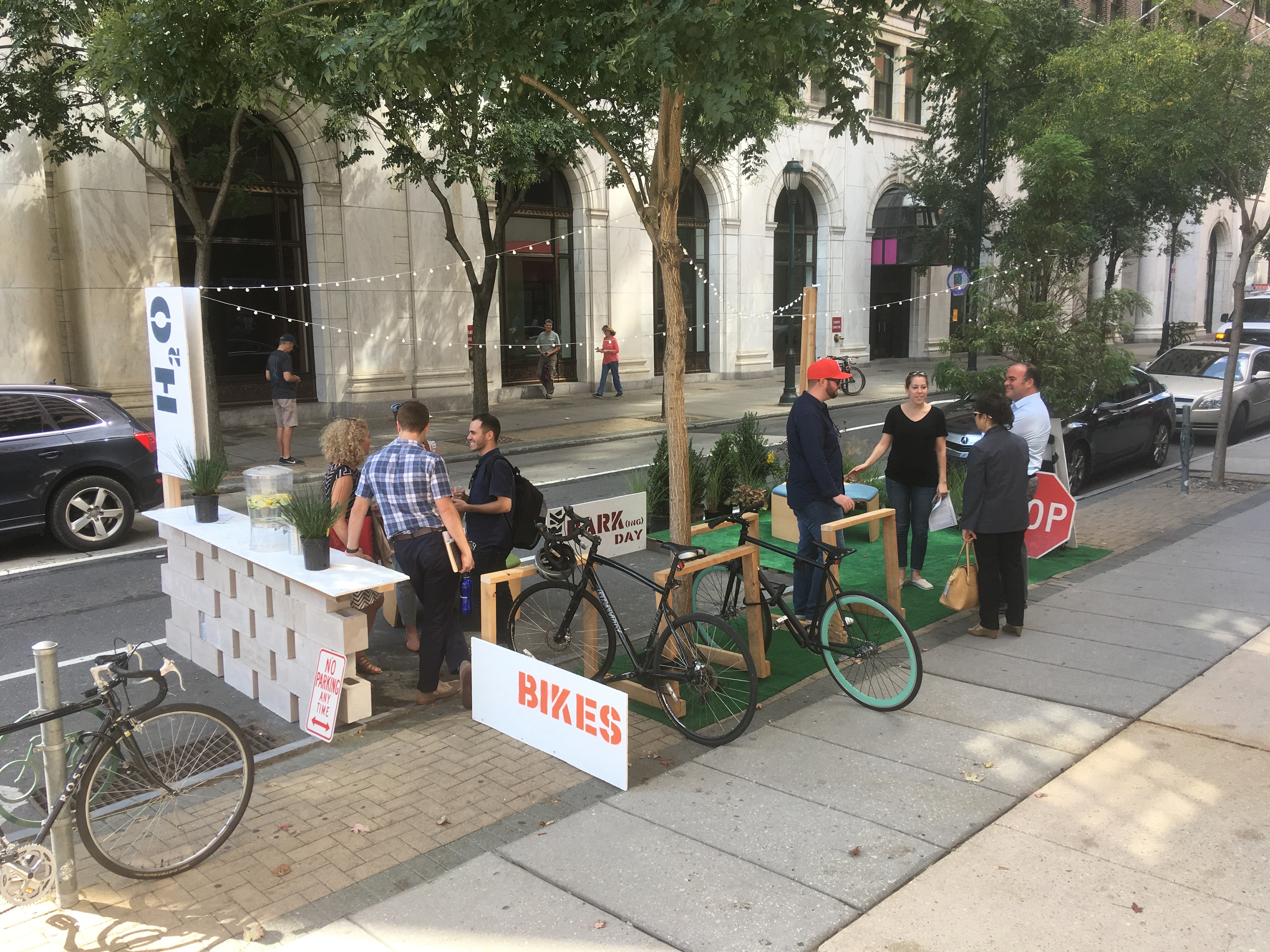 LRK offers lemon scented water and wooden bike racks on Chestnut near 6th