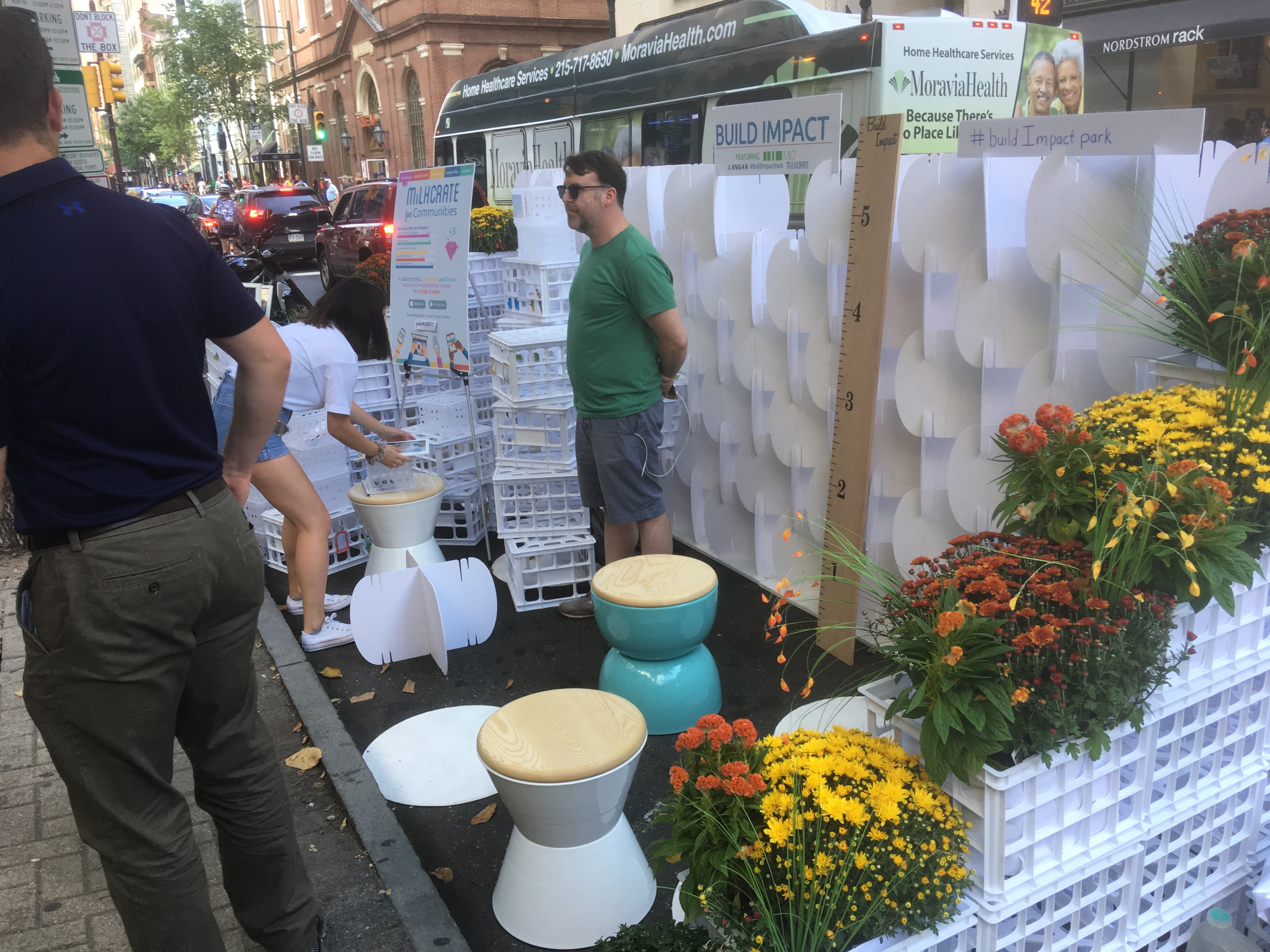 Milkcrate, MIO, and Langan Engineering built their Build Impact Park(ing) Day pop-up at 17th and Chestnut together