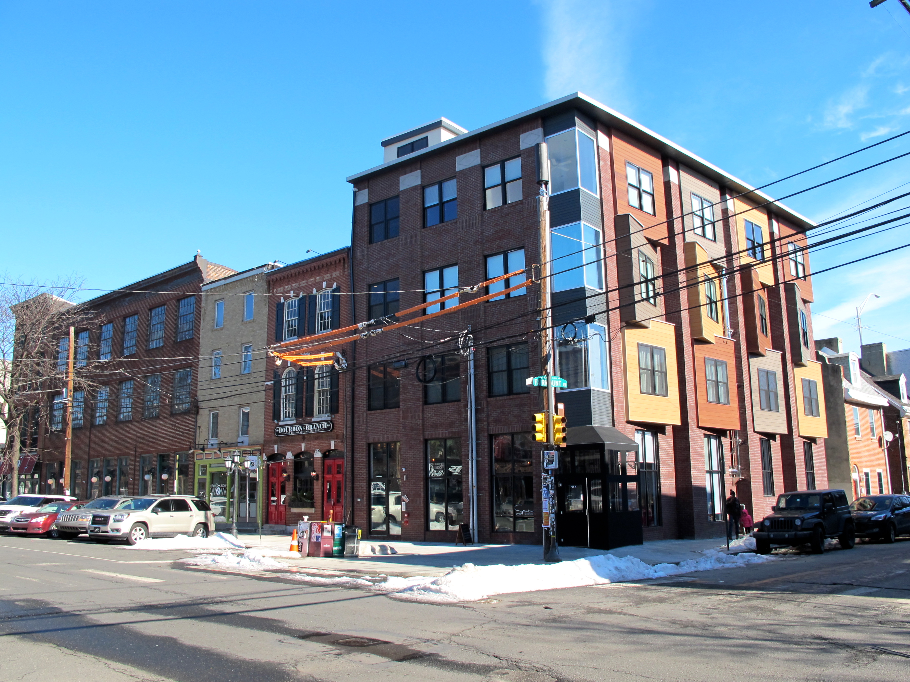 Mixed-use infill on North 2nd Street, Northern Liberties, January 2016