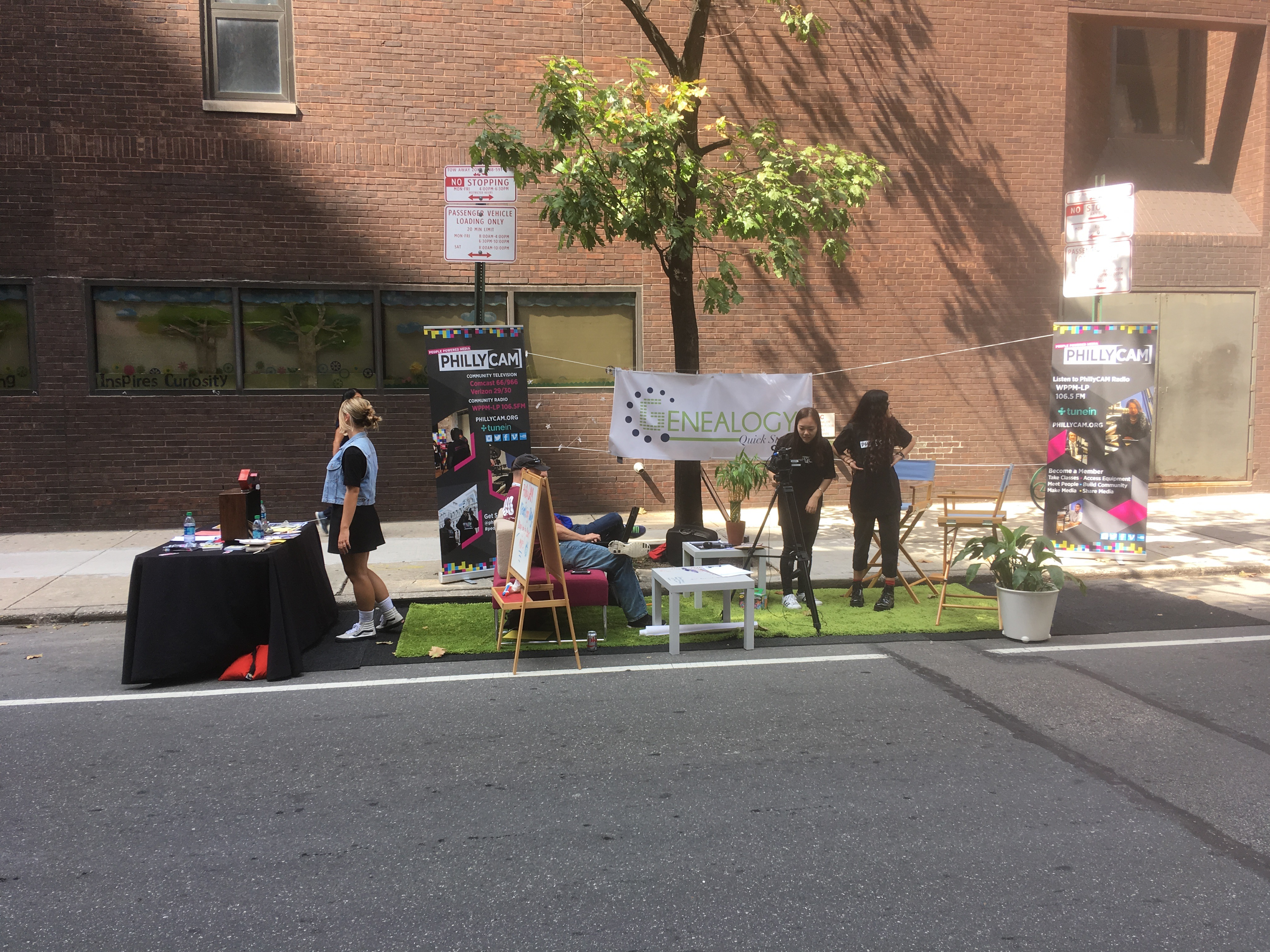 PhillyCAM offered genealogy tests and a chance to get on air at their Park(ing) Day pop-up on 7th near Ranstead