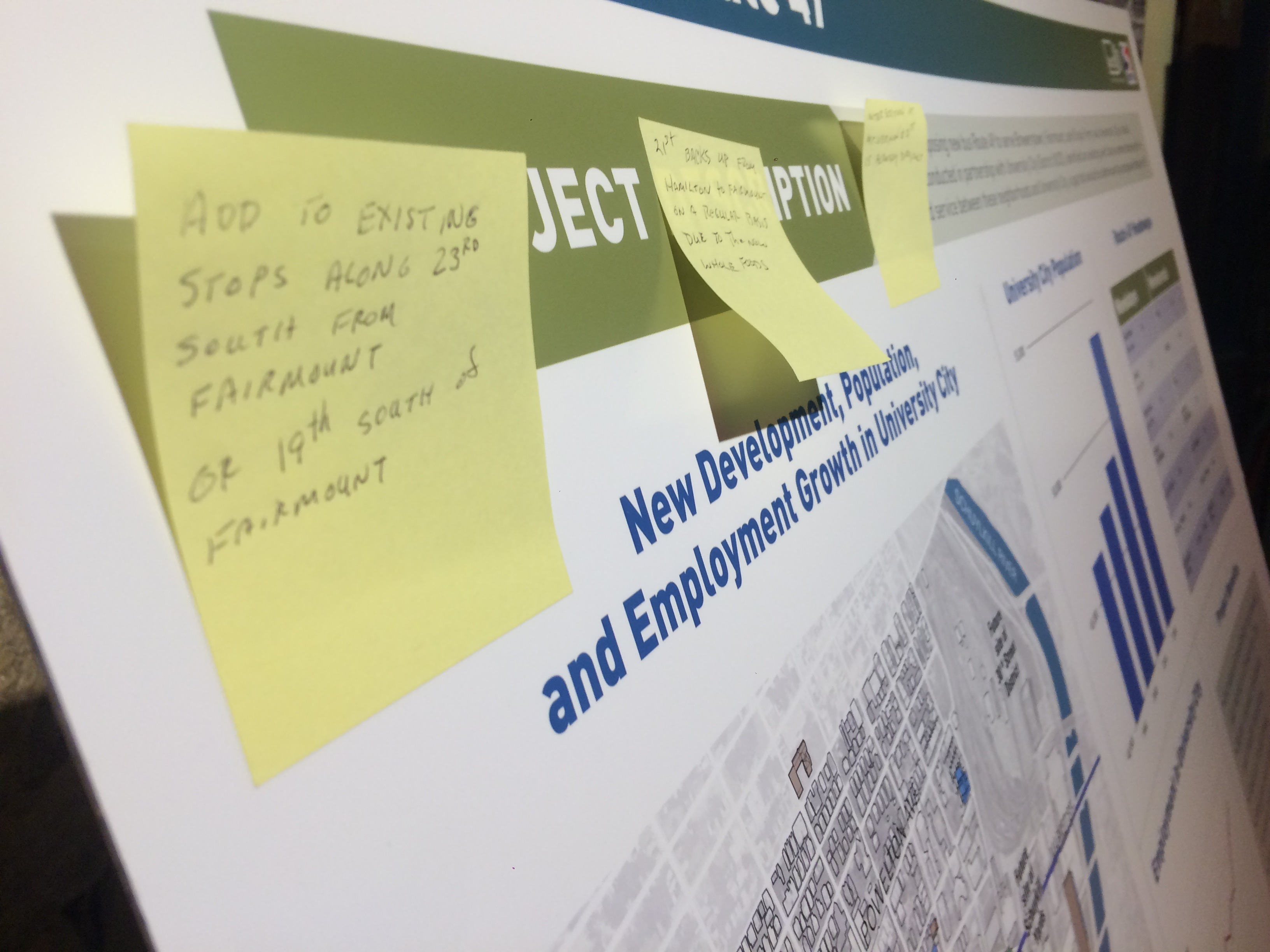A poster board with residents' comments at SEPTA's Route 49 open house last year