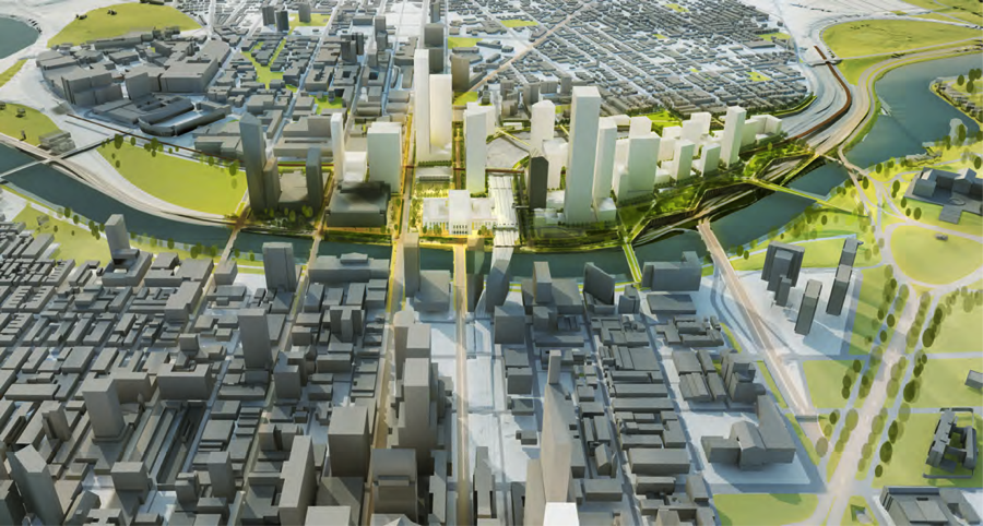 Rendering of 30th Street Station District from the east