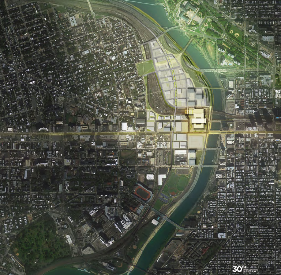Rendering of a satellite view of 30th Street Station District