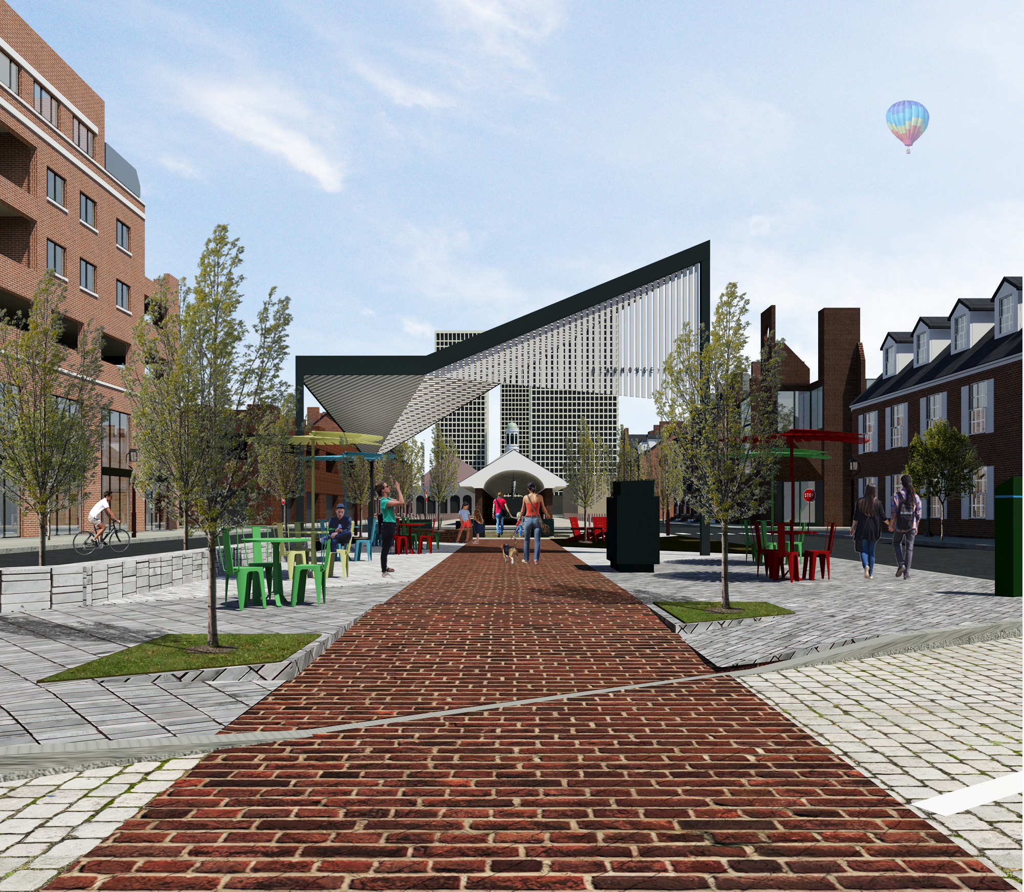 Rendering of Headhouse plaza looking north from parking (Art Commission, June 2017) | Ambit Architecture