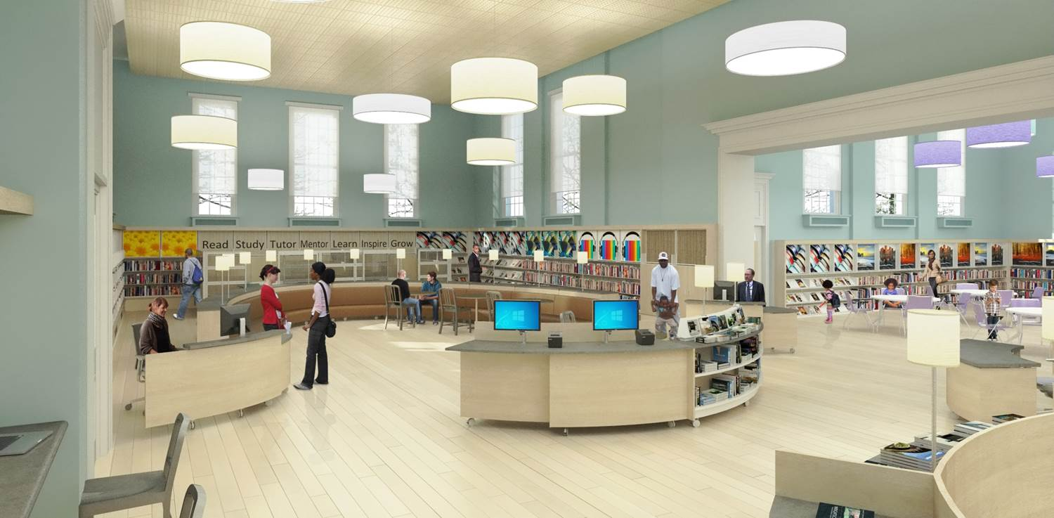 Rendering of Logan Library's new reference desk and entrance atrium