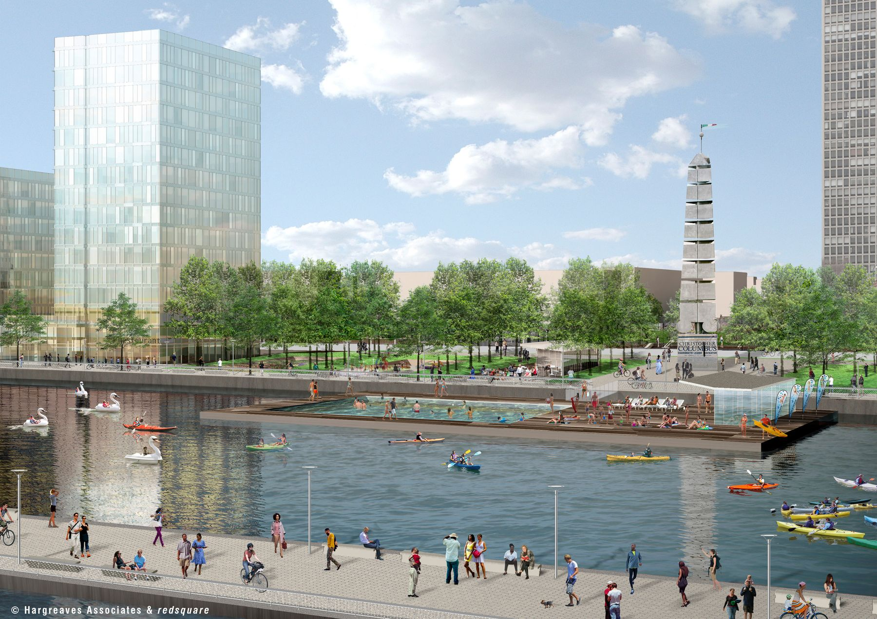Rendering of Penn's Landing's marina | Hargreaves Associates and redsquare, June 2017