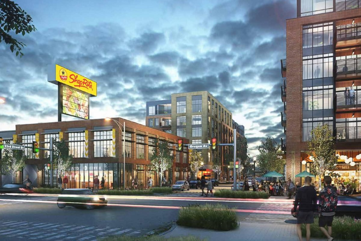 Rendering of South Quarter Plaza - a mixed-use redevelopment of Cedar Realty Trust's shopping center at 23rd Street and Oregon Avenue.