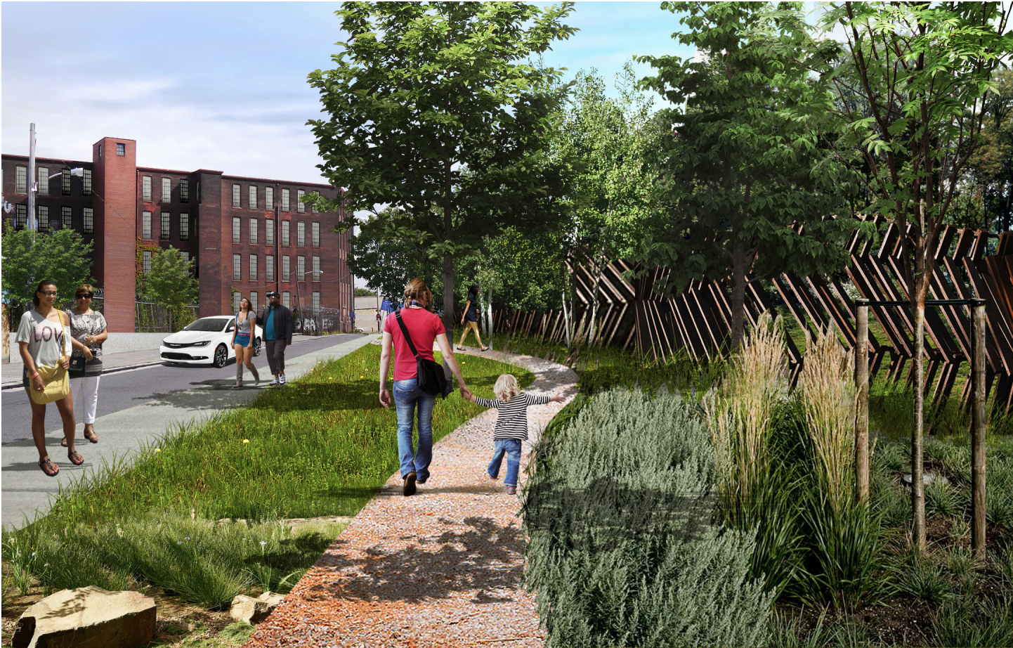A rendering showing Impact Services' concept for a greenway alongside the Conrail tracks on Tusculum Street. (Impact Services)