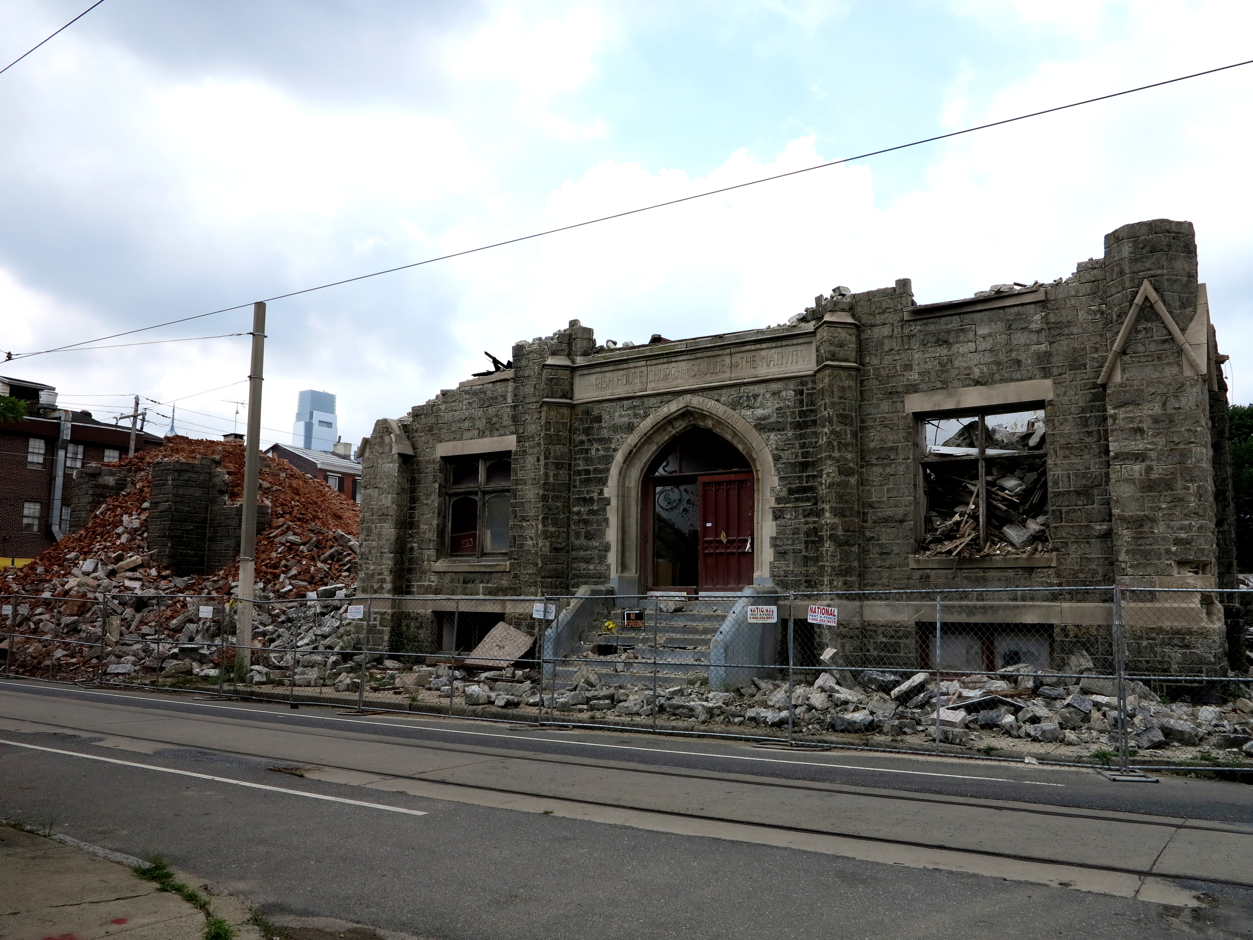 Ruffin Nichols Memorial AME demolition in progress, August 8, 2013