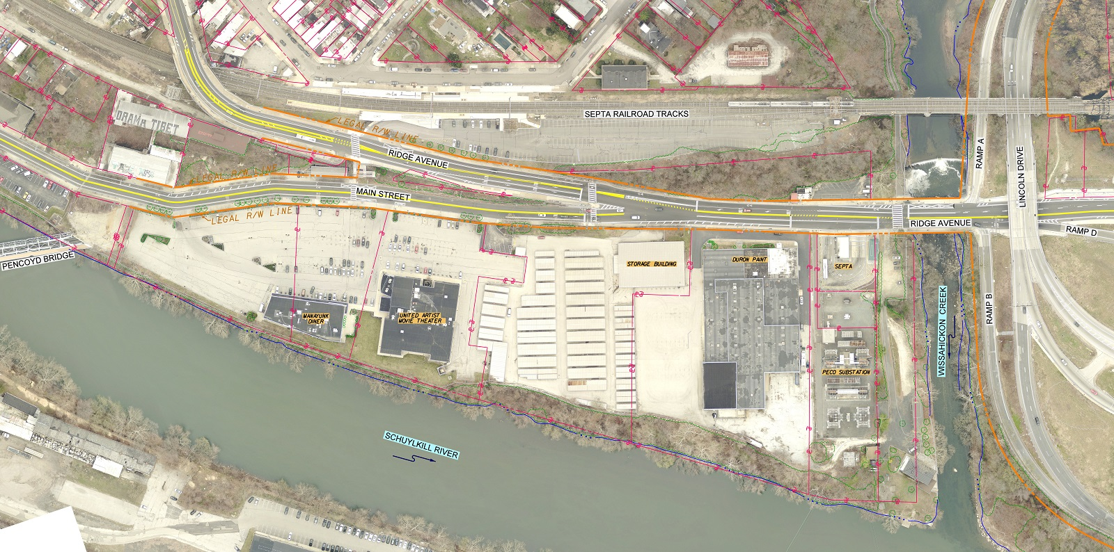 Satellite image showing the existing Wissahickon Transportation Center site