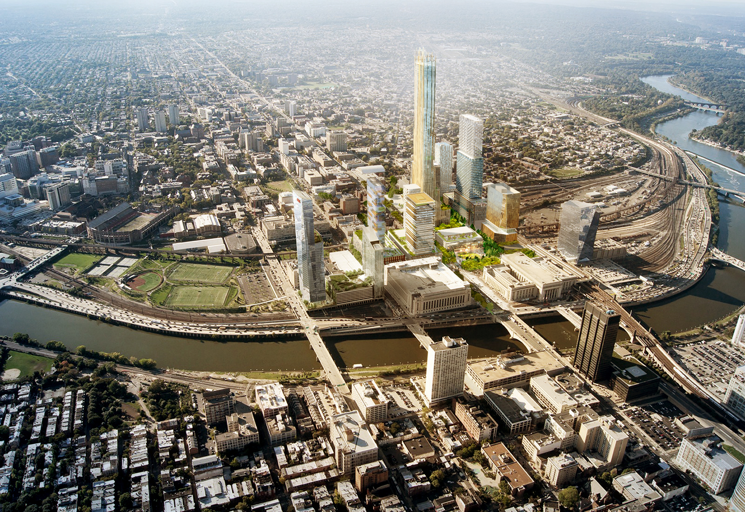 Conceptual rendering of Schuylkill Yards, a site being put forth for Amazon's second headquarters | Brandywine Realty Trust