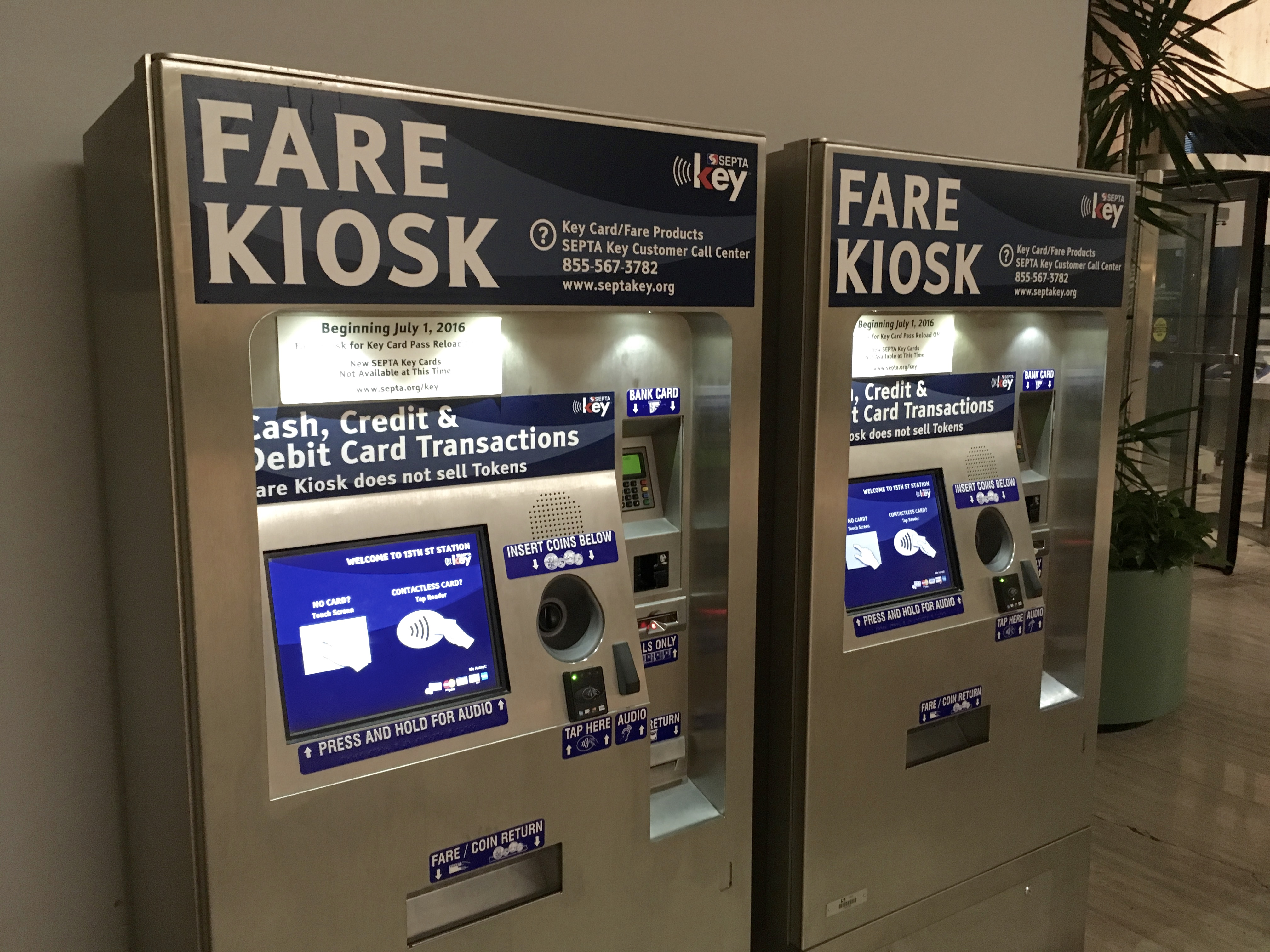 SEPTA Key fare kiosks at 1234 Market