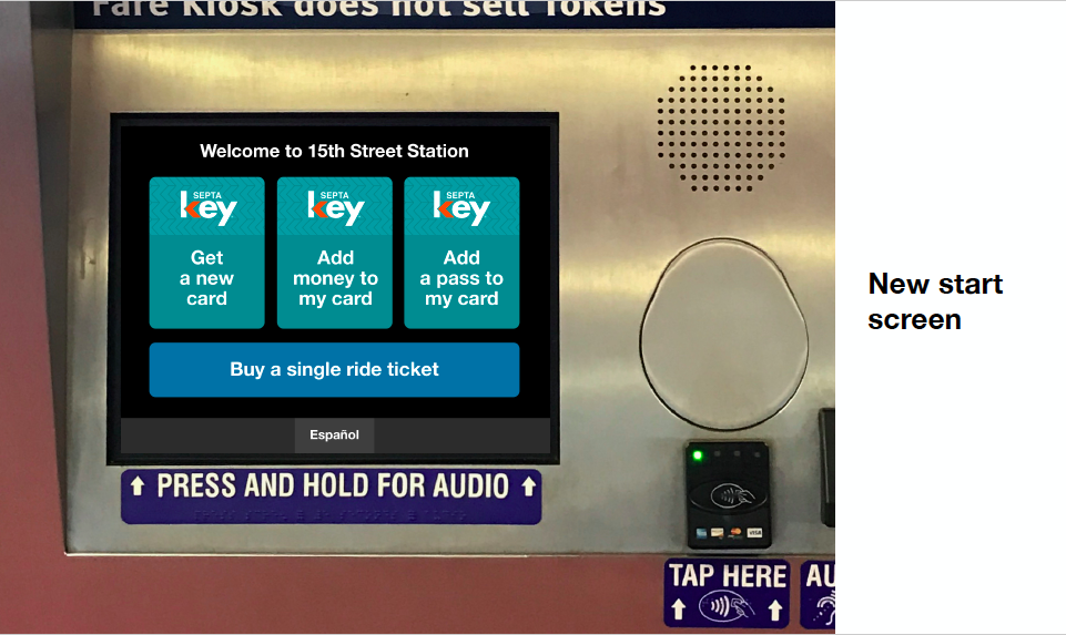 SEPTA Key Kiosk start screen as envisioned by group of civic do gooders from Think Company, Code for Philly and 5th Square (Courtesy of Think Company)