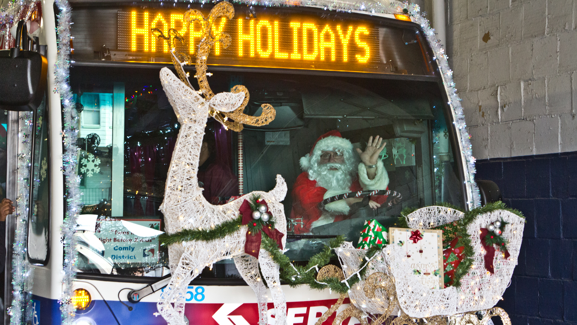 SEPTA's Comly district's decorations were inspired by the Nigh Before Christmas. (Kimberly Paynter/WHYY)