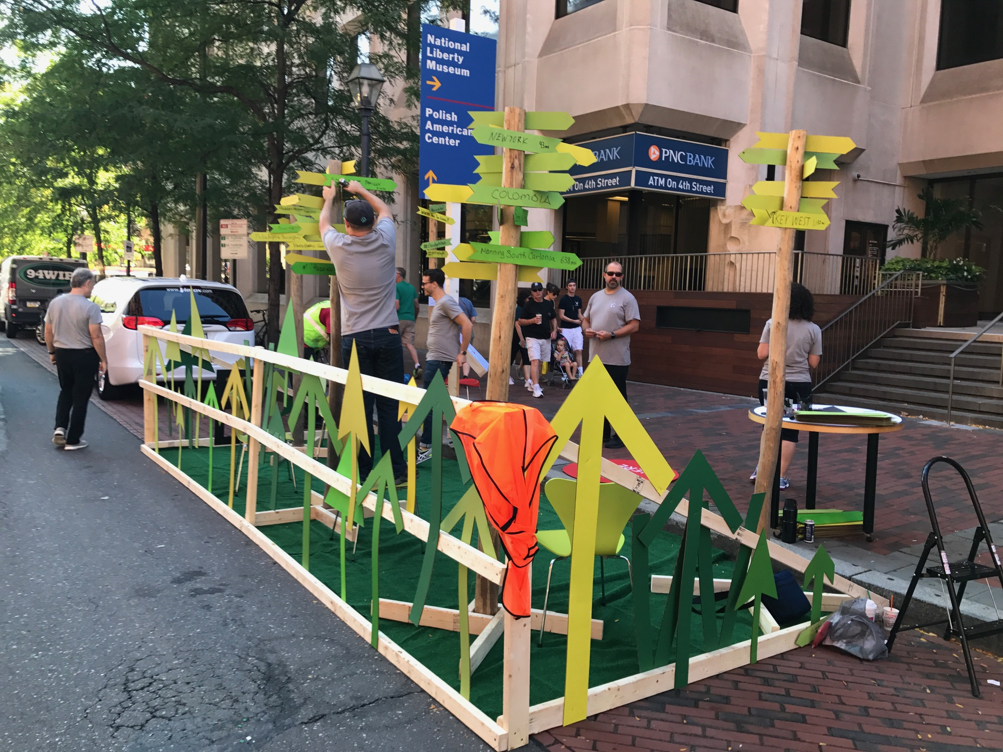 Matt Cavelier, Joe Thomas and Ian Goldberg setting up Cloud Gehshan Placemaking's Where are you from? at Market and 4th on Park(ing) Day 2017
