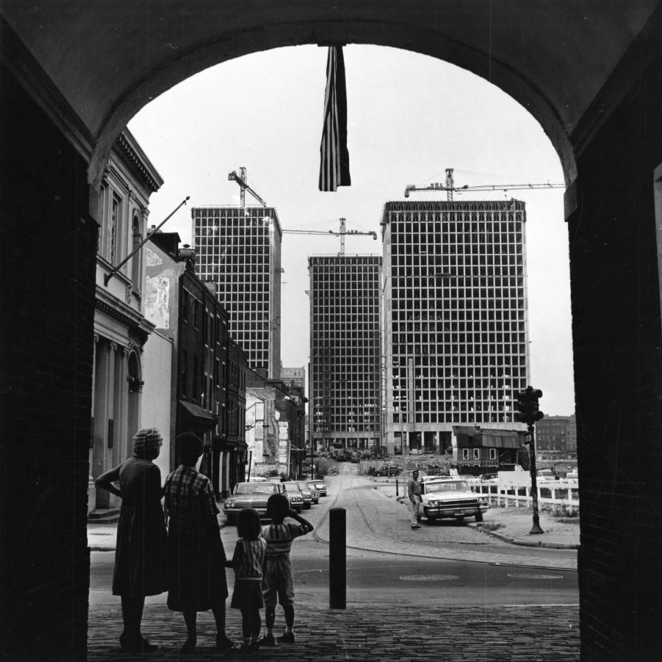 Society Hill towers under construction viewed from Headhouse, September 1963 | George McDowell Bulletin Photographs, Special Collections Research Center, Temple University Libraries, Philadelphia, PA