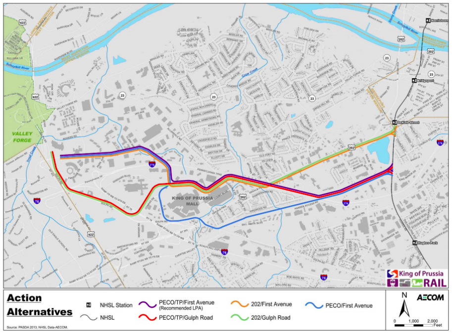 The locally preferred alternative route, in purple, is shown along side the discarded alternatives in the draft EIS