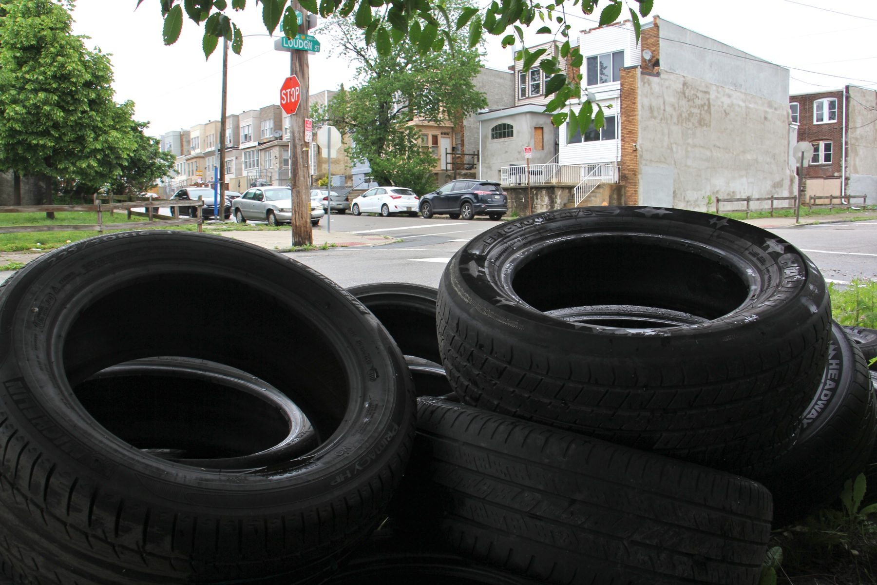 Tires are deposited all over the Logan Triangle.