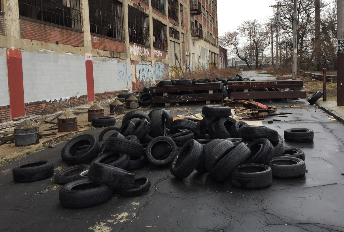 Tires dumped illegally, photo sent to Philly311 in January 2017.