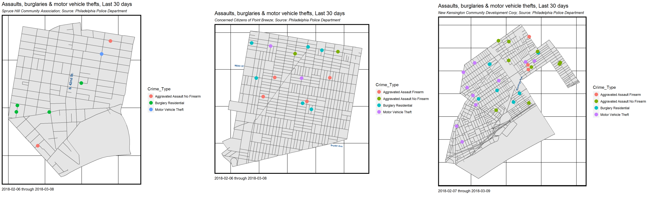 Visualization maps of 30 days of select crimes in Spruce Hill, Point Breeze, and Kensington. Credit: Ken Steif