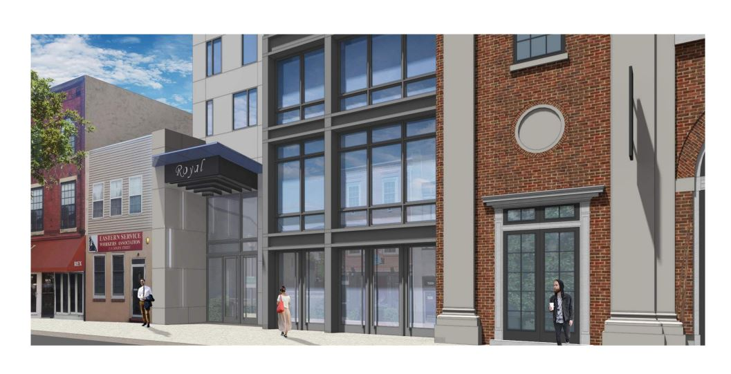 A rendering of the new front exterior incorporating the old Royal Theater facade | JKRP Architects