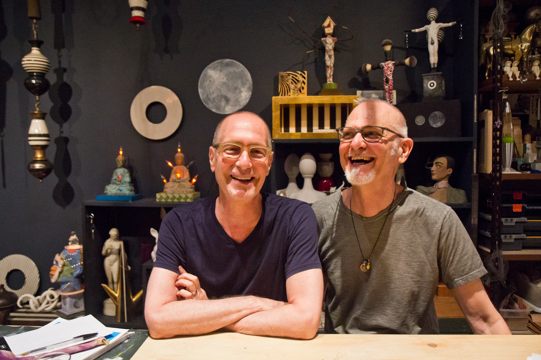 Dan Martin and Michael Biello at their studio in Old City. | Kimberly Paynter/WHYY