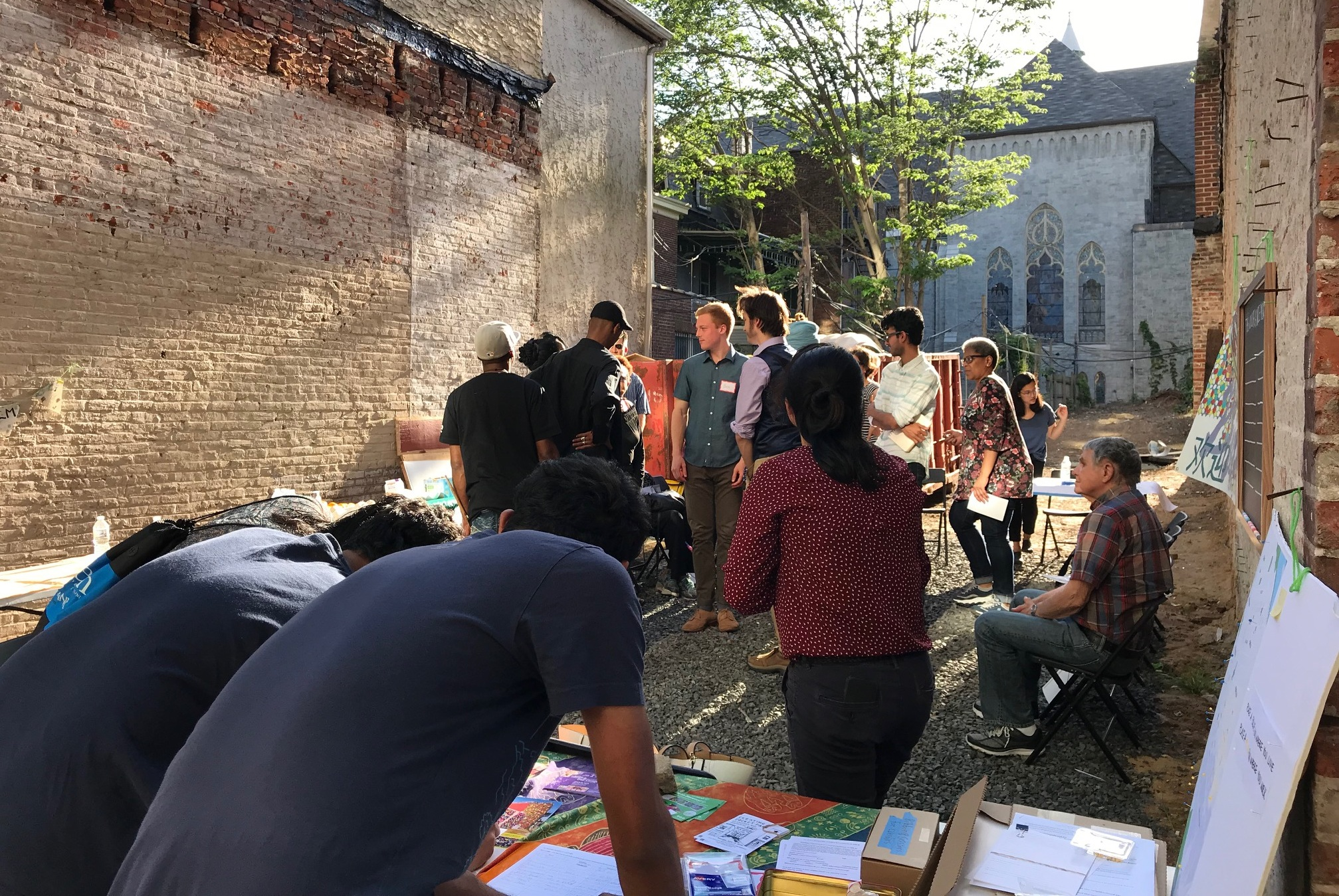 Participants at a neighborhood forum on the West Philadelphia pocket park. | Al-Bustan Seeds of Culture