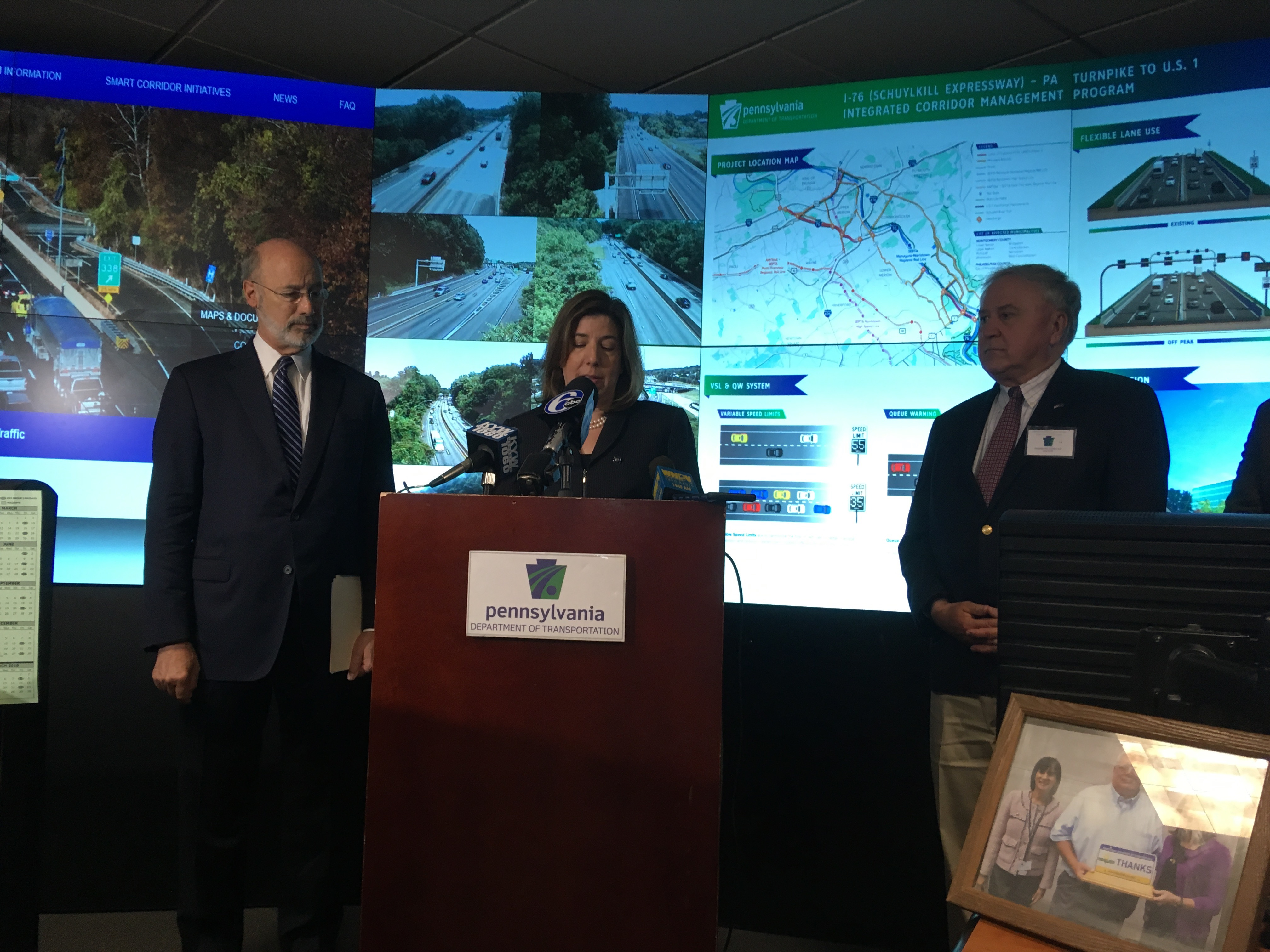 Gov. Tom Wolf and PennDOT Secretary Leslie Richards announce Schuylkill Expressway initiative.
