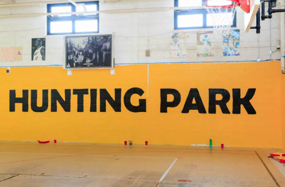 The basketball court at Hunting Park Rec Center.