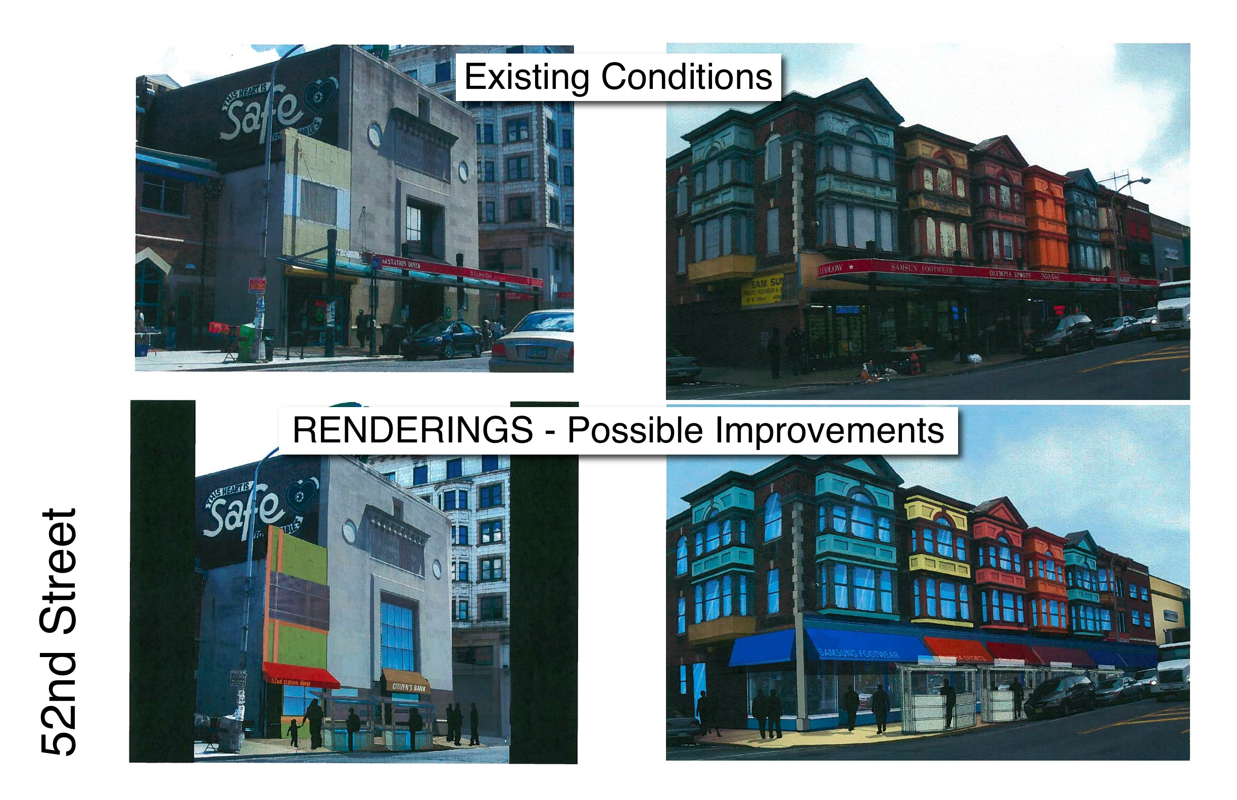 Series of before-after pictures from the Commerce Dept., showing how the corridor might look after the facade improvements