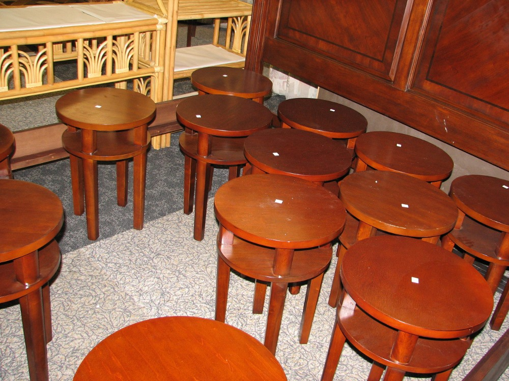 A group of small end tables, donated by an Old City apartment building