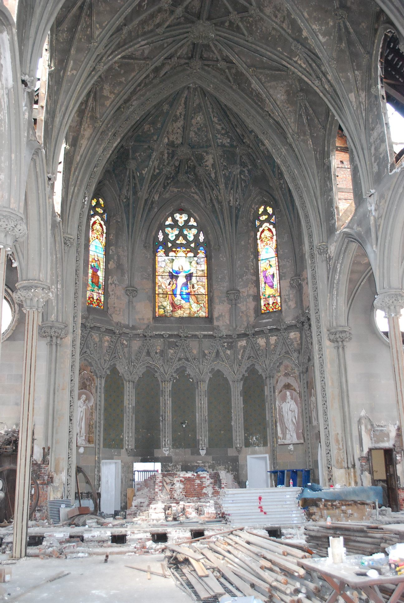 A view of the church interior after Siloam began demolition.