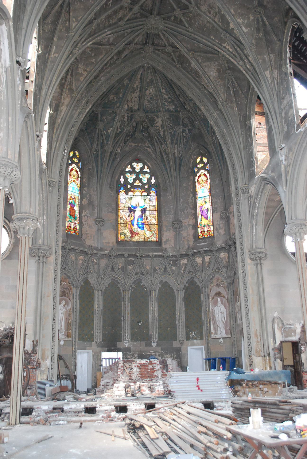 A view of the church after interior demolition began.
