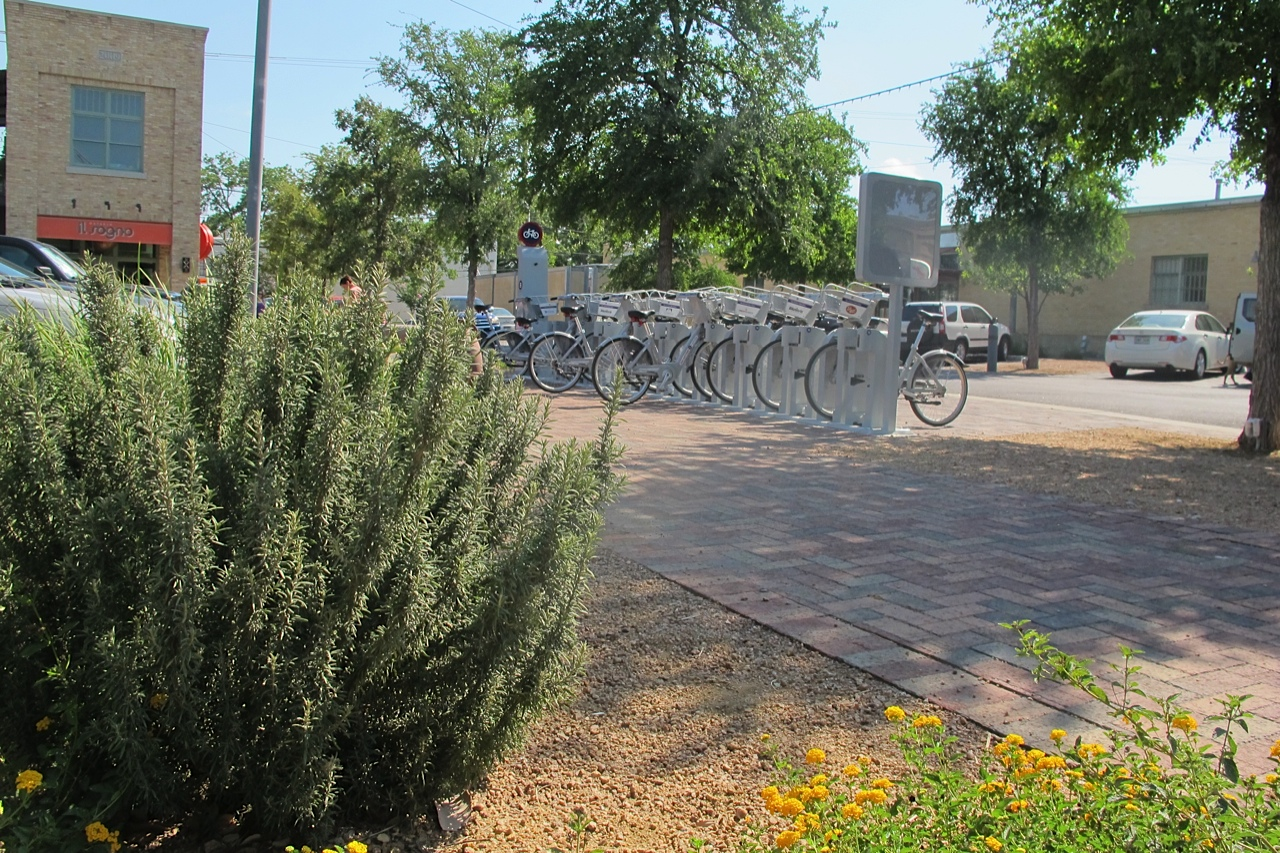 A bike share station in San Antonio