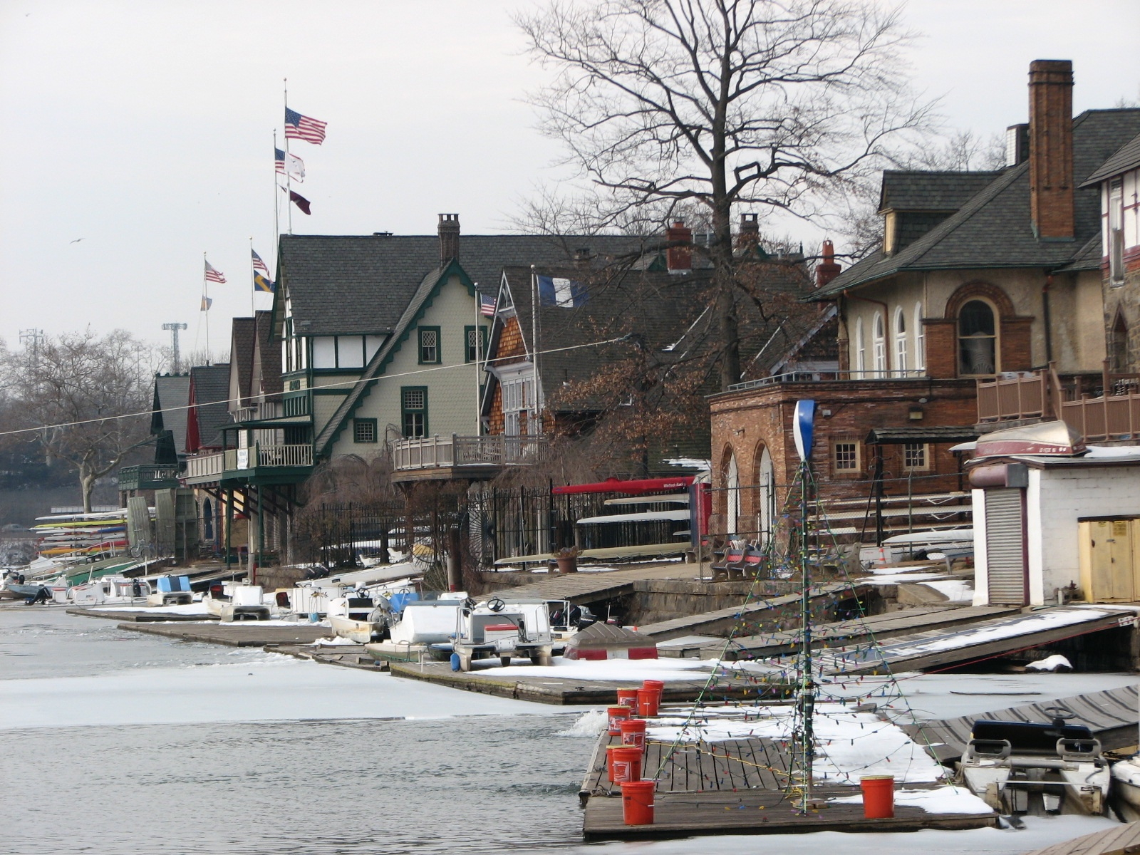 Looking west along the waterfront of Boathouse Row.