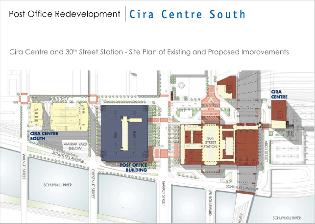 A map illustrating the location of Cira Centre South