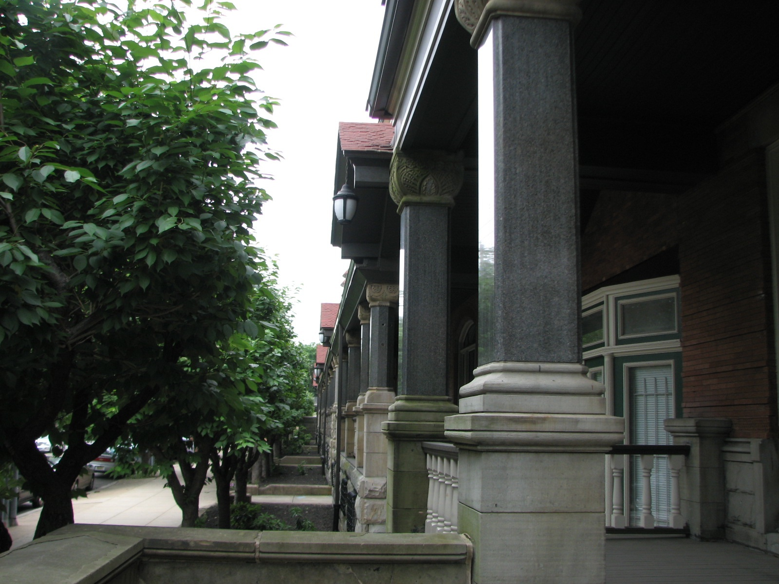 Smooth columns and porches welcome visitors to the apartment buildings.